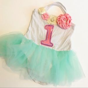 Other - First Birthday Girl Dress size 12 tutu mint pink